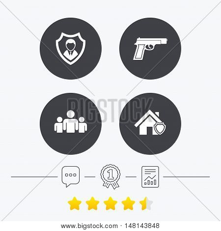 Security agency icons. Home shield protection symbols. Gun weapon sign. Group of people or Share. Chat, award medal and report linear icons. Star vote ranking. Vector