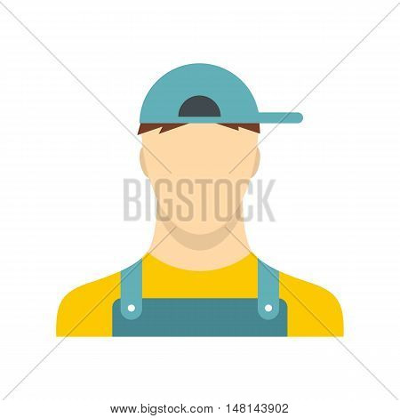 Plumber icon in flat style isolated on white background. Service symbol vector illustration