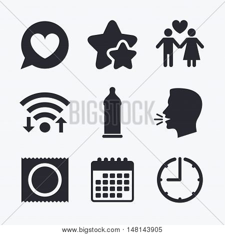 Condom safe sex icons. Lovers couple signs. Male love female. Speech bubble with heart. Wifi internet, favorite stars, calendar and clock. Talking head. Vector