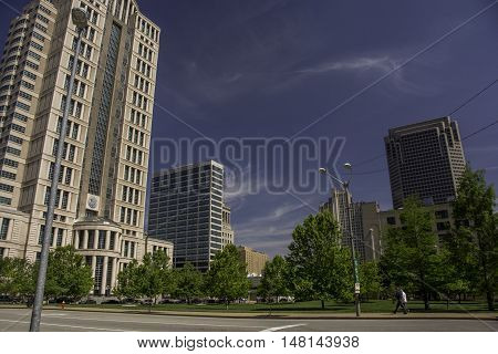 A wide angle shot of the tall buildings awaiting visitors to downtown St. Louis Missouri.