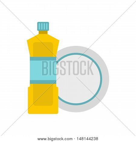 Bottle for dishwashing icon in flat style isolated on white background. Cleaning symbol vector illustration