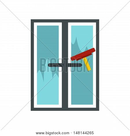 Brush washes a window icon in flat style isolated on white background. Cleaning symbol vector illustration
