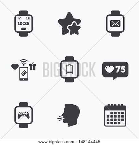 Smart watch icons. Wrist digital time watch symbols. Mail, Game joystick and wi-fi signs. Flat talking head, calendar icons. Stars, like counter icons. Vector