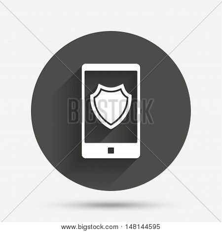 Smartphone protection sign icon. Shield symbol. Circle flat button with shadow. Vector