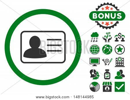Account Card icon with bonus images. Vector illustration style is flat iconic bicolor symbols green and gray colors white background.