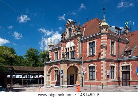 POLAND, GDANSK - JUNE 07, 2014: The building's main train station in Gdansk in the old eclectic style.