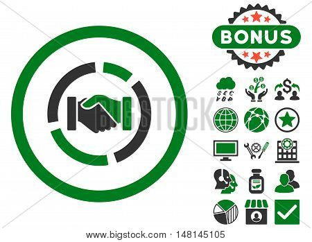 Acquisition Diagram icon with bonus symbols. Vector illustration style is flat iconic bicolor symbols green and gray colors white background.
