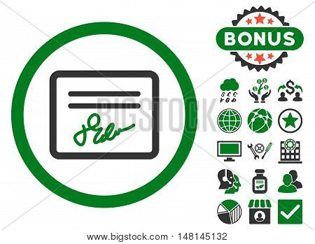 Agreement icon with bonus pictogram. Vector illustration style is flat iconic bicolor symbols green and gray colors white background.