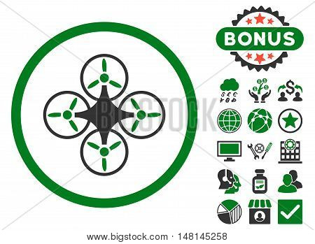 Air Drone icon with bonus symbols. Vector illustration style is flat iconic bicolor symbols green and gray colors white background.