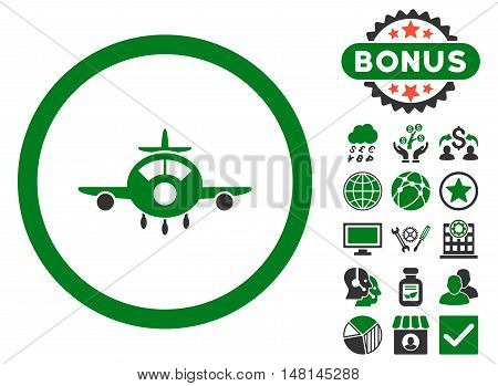Aircraft icon with bonus pictures. Vector illustration style is flat iconic bicolor symbols green and gray colors white background.