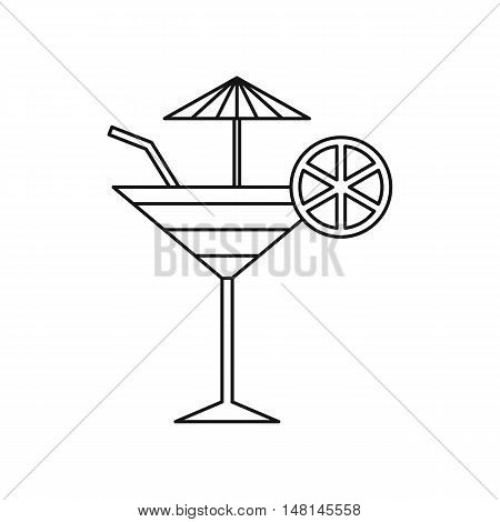 Fruit cocktail icon in outline style isolated on white background. Drink symbol vector illustration
