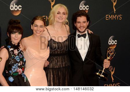 LOS ANGELES - SEP 18:  Maisie Williams, Emilia Clarke, Sophie Turner, Kit Harington at the 2016 Primetime Emmy Awards - Press Room at the Microsoft Theater on September 18, 2016 in Los Angeles, CA