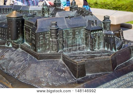 POLAND, KRAKOW - MAY 27, 2016: Model Wawel hill with Royal old castle and other buildings. Near famous Wawel Castle in Krakow.
