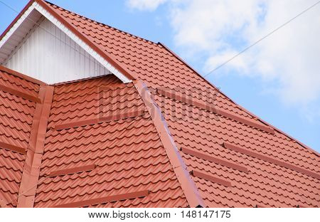 The Roof Of Corrugated Sheet Red Orange