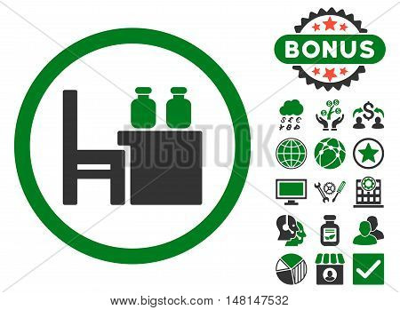 Apothecary Table icon with bonus elements. Vector illustration style is flat iconic bicolor symbols green and gray colors white background.