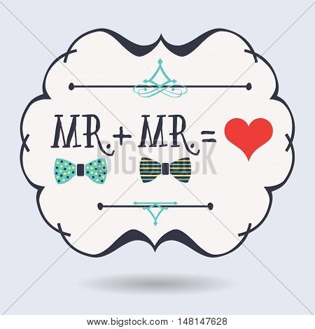 Black abstract emblem with conceptual Mr. plus Mr. equals red heart icons on blue background