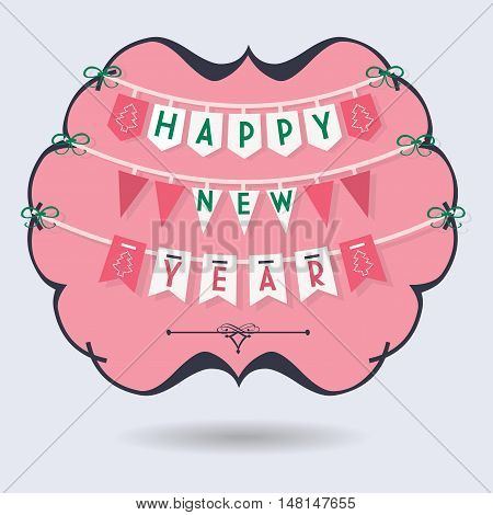 Abstract Happy New Year buntings decoration in black and pink emblem on blue background