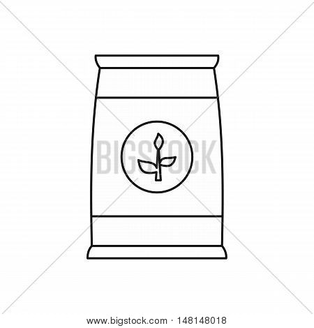 Fertilizer bag icon in outline style isolated on white background vector illustration