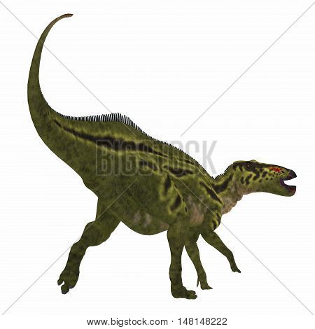 Shantungosaurus Dinosaur Tail 3D Illustration - Shantungosaurus was a herbivorous Hadrosaur dinosaur that lived in China in the Cretaceous Period.