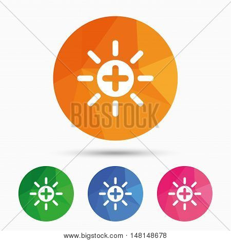 Sun plus sign icon. Heat symbol. Brightness button. Triangular low poly button with flat icon. Vector
