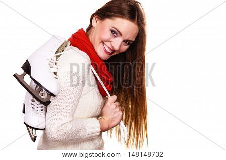 Smiling Woman With Ice Skates
