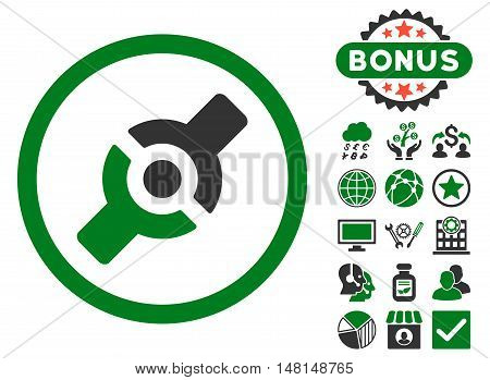 Artificial Joint icon with bonus design elements. Vector illustration style is flat iconic bicolor symbols green and gray colors white background.