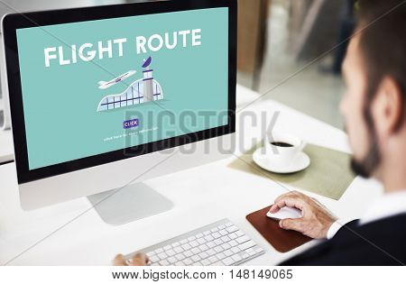 Flight Route Business Trip Flights Travel Concept