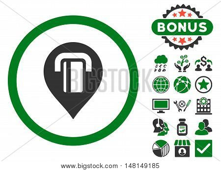 Atm Map Marker icon with bonus pictures. Vector illustration style is flat iconic bicolor symbols green and gray colors white background.