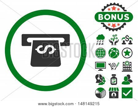 Atm icon with bonus design elements. Vector illustration style is flat iconic bicolor symbols green and gray colors white background.