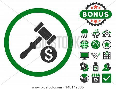 Auction icon with bonus elements. Vector illustration style is flat iconic bicolor symbols green and gray colors white background.