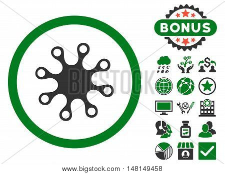 Axenic icon with bonus images. Vector illustration style is flat iconic bicolor symbols green and gray colors white background.