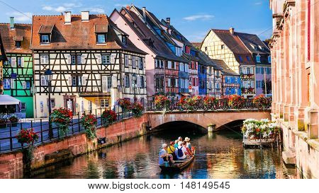 Beautiful romantic city Colmar, part with canals