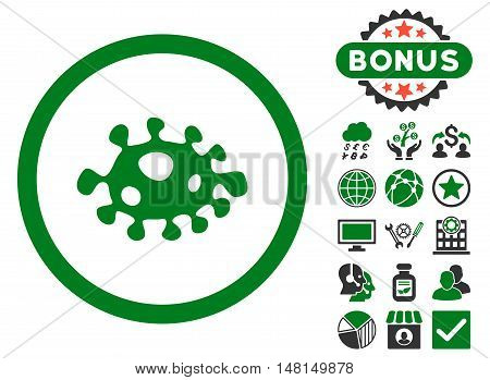 Bacteria icon with bonus pictures. Vector illustration style is flat iconic bicolor symbols green and gray colors white background.
