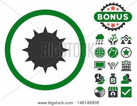 Bacterium icon with bonus pictogram. Vector illustration style is flat iconic bicolor symbols green and gray colors white background.