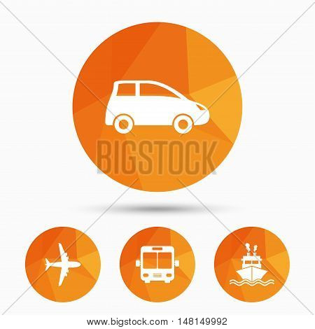 Transport icons. Car, Airplane, Public bus and Ship signs. Shipping delivery symbol. Air mail delivery sign. Triangular low poly buttons with shadow. Vector