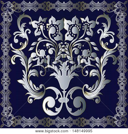 Baroque damask antique floral vector Ornament. Pattern illustration with vintage decorative baroque silver baroque leaves ornament and frame with shadow and highlight on the dark blue background