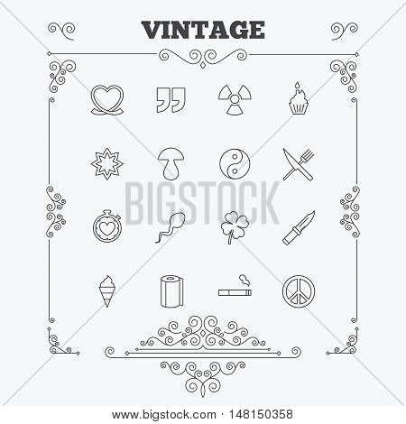 Universal icons. Quotes, ribbon heart and cake. Clover, mushroom and ice cream. Smoking, knife and fork. Vintage ornament patterns. Decoration design elements. Vector