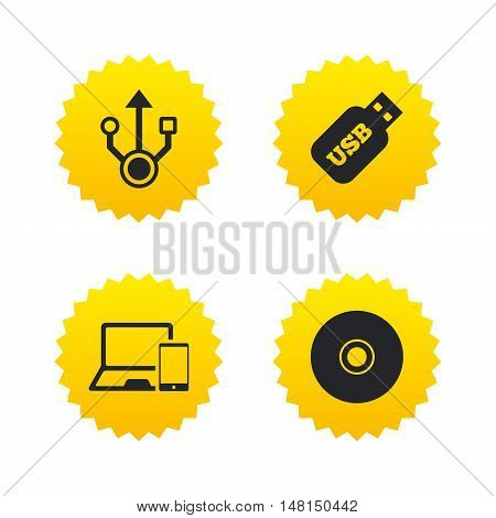 Usb flash drive icons. Notebook or Laptop pc symbols. Smartphone device. CD or DVD sign. Compact disc. Yellow stars labels with flat icons. Vector