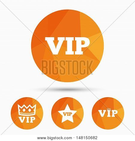VIP icons. Very important person symbols. King crown and star signs. Triangular low poly buttons with shadow. Vector