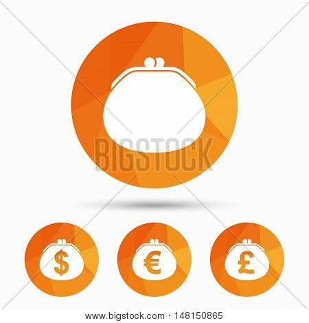 Wallet with Dollar, Euro and Pounds currency icons. Cash bag signs. Retro wealth symbol. Triangular low poly buttons with shadow. Vector