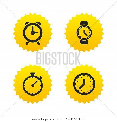 Mechanical clock time icons. Stopwatch timer symbol. Wake up alarm sign. Yellow stars labels with flat icons. Vector