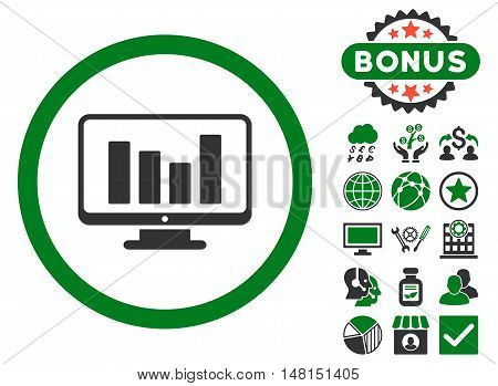 Bar Chart Monitoring icon with bonus symbols. Vector illustration style is flat iconic bicolor symbols green and gray colors white background.