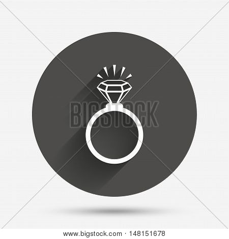 Ring sign icon. Jewelry with shine diamond symbol. Wedding or engagement day symbol. Circle flat button with shadow. Vector
