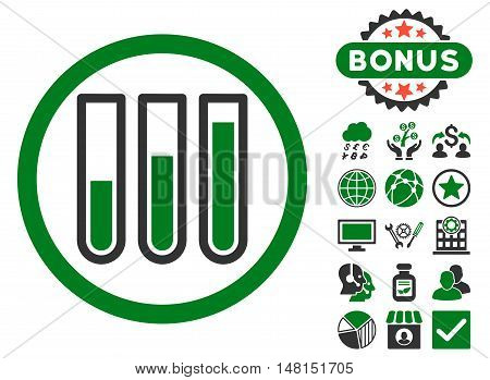 Blood Test Tubes icon with bonus pictogram. Vector illustration style is flat iconic bicolor symbols green and gray colors white background.