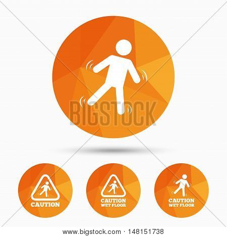 Caution wet floor icons. Human falling triangle symbol. Slippery surface sign. Triangular low poly buttons with shadow. Vector