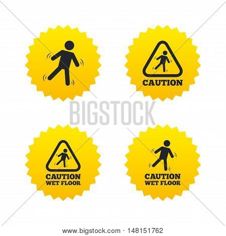 Caution wet floor icons. Human falling triangle symbol. Slippery surface sign. Yellow stars labels with flat icons. Vector
