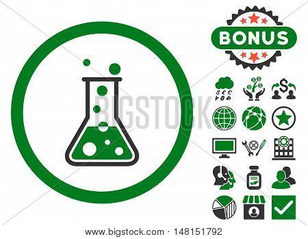 Boiling Liquid Flask icon with bonus design elements. Vector illustration style is flat iconic bicolor symbols green and gray colors white background.