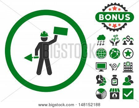 Builder With Shovel icon with bonus design elements. Vector illustration style is flat iconic bicolor symbols green and gray colors white background.