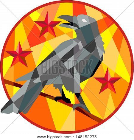 Low polygon style illustration of a crow bird perched on a piece of wood looking back set inside circle with stars in the background.