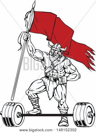 Illustration of a norseman viking warrior raider barbarian with beard wearing horned helmet stepping on barbell waving red flag viewed from front set on isolated white background done in retro style.